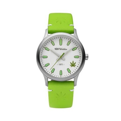 420Waldos Women's Mary Jane Stainless Steel Japanese Quartz Leather Calfskin Strap, Green, 18 Casual Watch (Model: W2007)並行輸入品