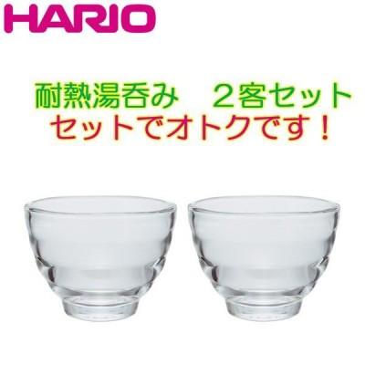 ハリオ 耐熱湯呑み 2客セット 耐熱ガラス製 満水容量170ml