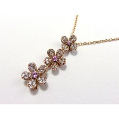 K18 花モチーフ ダイヤネックレス スイングタイプ 18金ネックレス