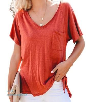 女性 ディープ V ネック シャツ 夏 半袖 固体シャツ 無地 基本シャツ服 トップス ポケット サイズ s 2XL グループ上 レディース 衣服 から ブラ ウス シャツ