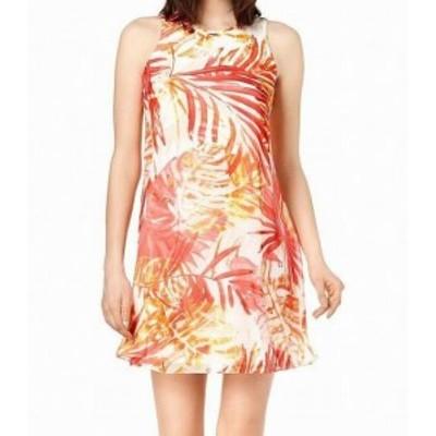 Calvin Klein カルバンクライン ファッション ドレス Calvin Klein Womens Dress Orange White Size 12P Petite Shift Printed