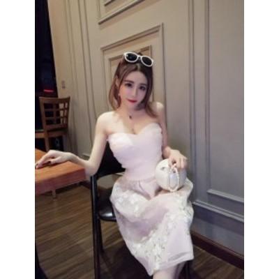 刺繍チューブトップドレス(ピンク)パーティドレス 結婚式 二次会 お呼ばれ 春夏