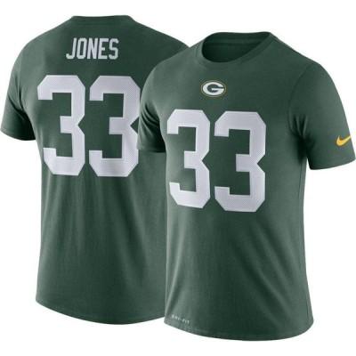 ナイキ Nike メンズ Tシャツ トップス Green Bay Packers Aaron Jones #33 Logo Green T-Shirt