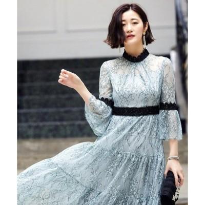 ドレス シャンテリーレースティアードワンピースドレス/結婚式・お呼ばれ・二次会・同窓会・成人式対応フォーマルパーティードレス