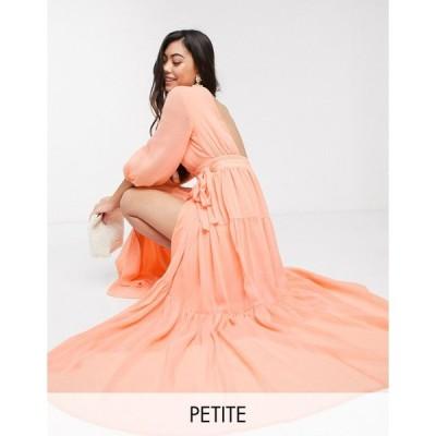 ヤス ミディドレス レディース Y.A.S Petite wrap maxi dress with open back in orange エイソス ASOS オレンジ