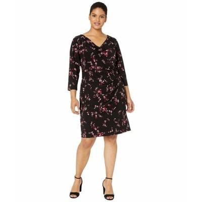 ラルフローレン ワンピース トップス レディース Plus Size Floral Pleated Jersey Dress Black/Parlor Red/Multi