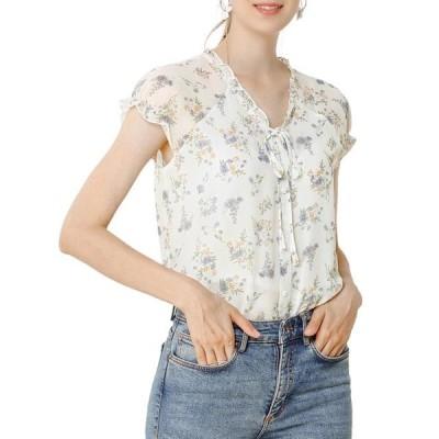 レディース 衣類 トップス Allegra K Women's Floral Ruffles Cap Sleeve Chiffon Blouse Top XS White Purple ブラウス&シャツ