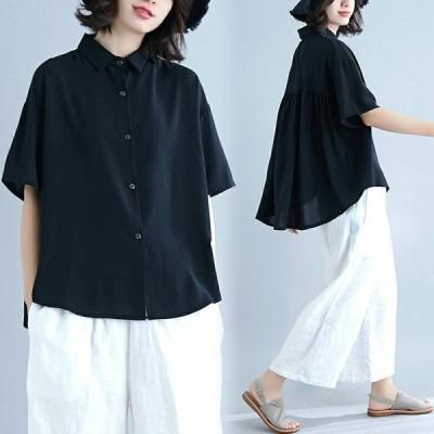 大きいサイズ レディース トップス 半袖 体型カバー 着痩せ シャツ ビックサイズ シンプル 大人女子向け 大人気アイテム