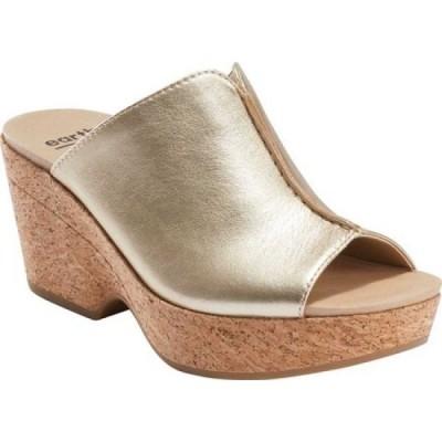 カルソーアースシューズ Earth レディース サンダル・ミュール シューズ・靴 Khaya Kiki Heeled Slide Gold Metallic Leather