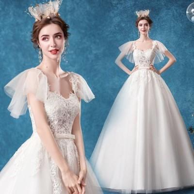 ANGEL 半袖 肌透け チュール レース リボン トレーン プリンセス Aライン ロングドレス ホワイト 白