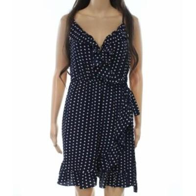 ファッション ドレス Love...Ady NEW Blue Womens Size Medium M Polka-Dot Ruffled Sheath Dress