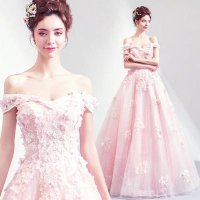 【ANGEL】オフショルダーチュールフラワースパンコールビーズパール半袖付き背中編上げAラインロングドレス【送料無料】高品質 ピンク ロングドレス