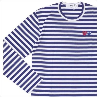 PLAY COMME des GARCONS (プレイ コムデギャルソン) 2HEART BORDER L/S TEE (長袖Tシャツ) NAVY 202-000838-057x【新品】(TOPS)