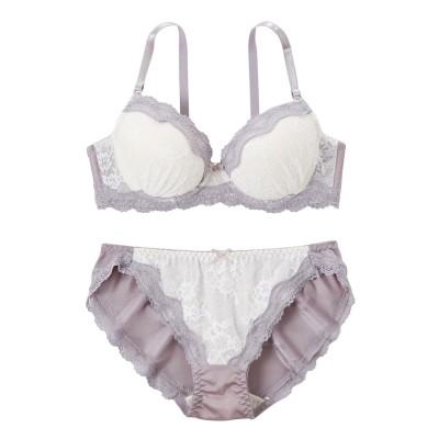 ニュアンスカラーレース ブラジャー。ショーツセット(D85/LL) (ブラジャー&ショーツセット)Bras & Panties