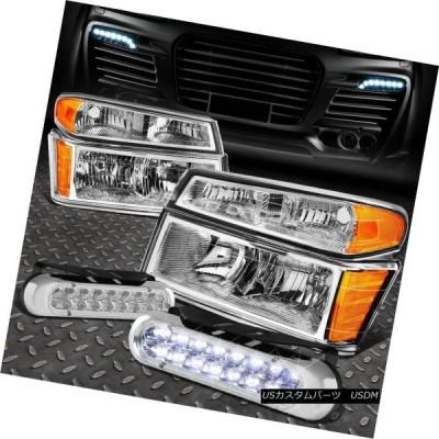 ヘッドライト CHROME HEADLIGHT + AMBE   Rコーナー+ 04-12コロラド/キャニオの16 LEDグリ