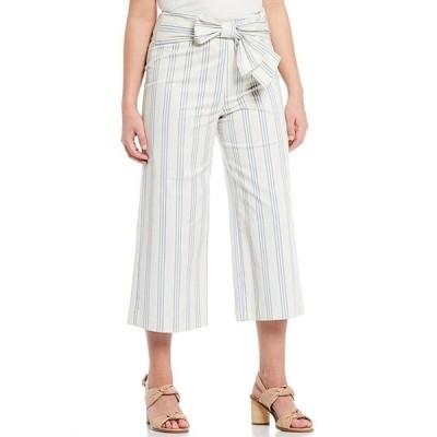アレックスマリー レディース カジュアルパンツ ボトムス Chelsea Tie Front Striped Twill High Waist Cotton Blend Machine Washable Crop Pant
