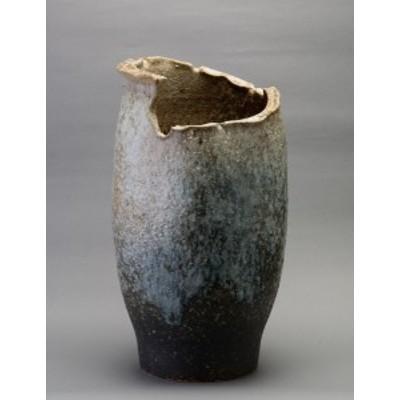信楽焼 陶器  和風 モダン 白 壺 ちぎり窯変傘立て高さ49cm