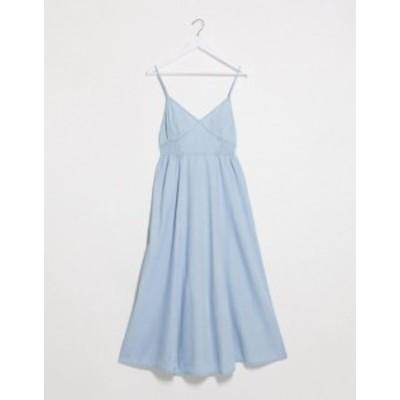エイソス レディース ワンピース トップス ASOS DESIGN soft denim shirred waist v-neck slip dress Blue