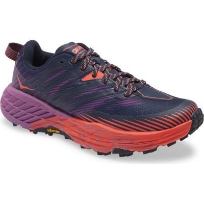 ホカ オネオネ HOKA ONE ONE レディース ランニング・ウォーキング シューズ・靴 Speedgoat 4 Trail Running Shoe Outer Space/Hot Coral