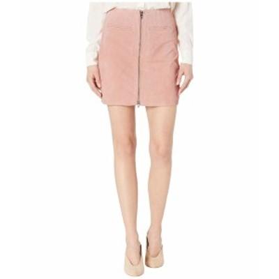 ブランクニューヨーク レディース スカート ボトムス Real Suede Skirt with Zipper Detail in Pink Pearl Pink Pearl