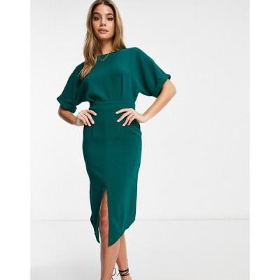 エイソス ASOS DESIGN レディース ワンピース ミドル丈 ワンピース・ドレス Wiggle Midi Dress In Forest Green フォレストグリーン