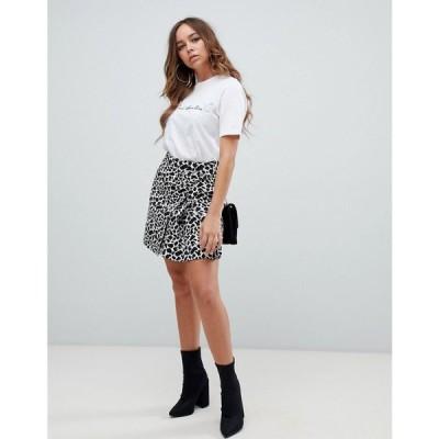 エイソス ASOS DESIGN レディース スカート ラップスカート mini animal jacquard wrap skirt with buckle モノアニマル