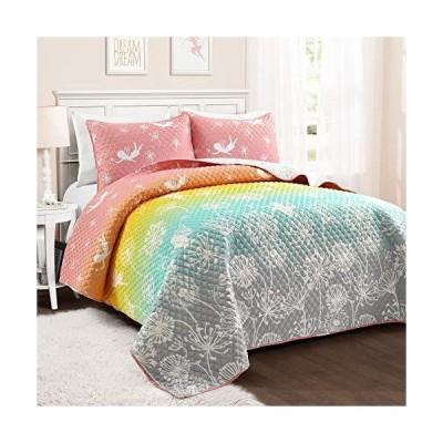 PB&J Make A Wish Dandelion Fairy Ombre Pastel Rainbow Reversible Print 3 Piece Quilt Set, Full Queen