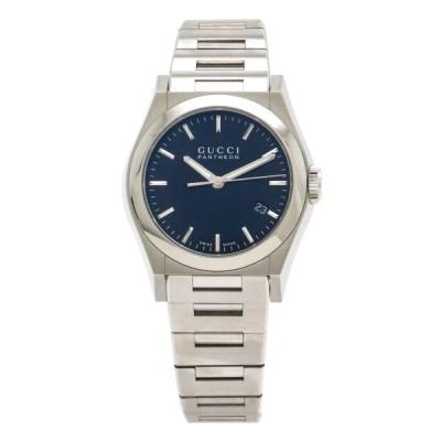 GUCCI グッチ パンテオン ブラック文字盤 デイト SS ユニセックス ボーイズ QZ クォーツ 腕時計 115.4 YA115423 (中古)