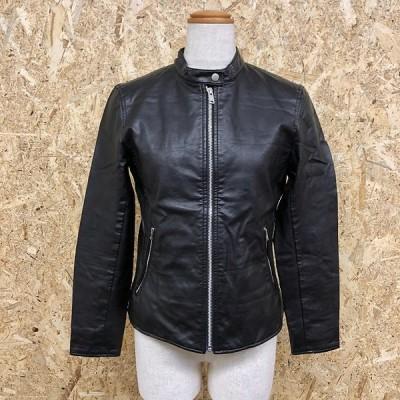 UNIQLO ユニクロ S レディース ライダースジャケット シングルブレスト ジップポケット 裏地付き 無地 長袖 合成皮革 ブラック 黒