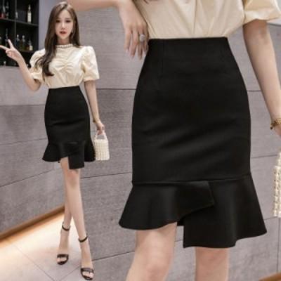 春物 レディース スカート タイトスカート 伸縮性ある 春秋 通勤OL 高級感 上品 無地 膝丈 スーツ オフィス マーメイドスカート