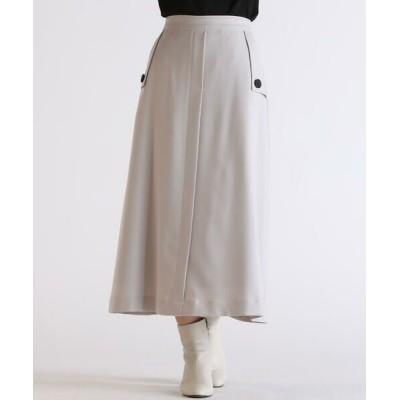 Droite lautreamont/ドロワットロートレアモン ポケットトレンチスカート ライトグレー S