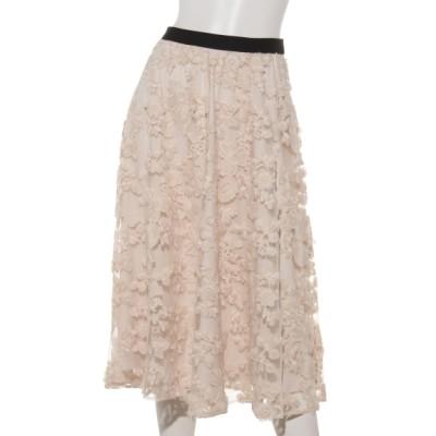 Rose Tiara (ローズティアラ) レディース フラワーチュール刺繍フレアスカート ベージュ 38