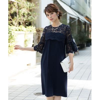 レース切替ワンピースドレス (ワンピース)Dress