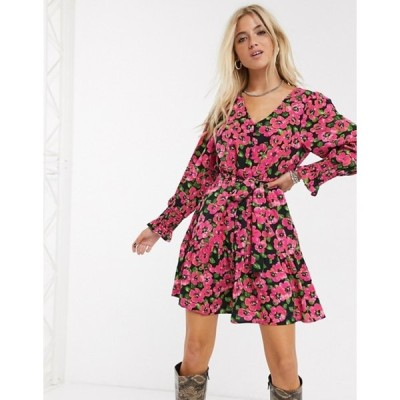 オンリー レディース ワンピース トップス Only mini dress in bold floral print