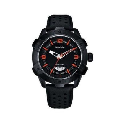 ノーティカ3針Perforatedレザーストラップブラックダイヤルメンズ腕時計# n28001g