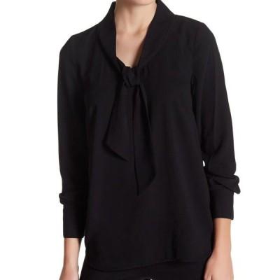 レディース 衣類 トップス KENSIE Womens Black Cuffed Tie Neck Blouse Top Size: L ブラウス&シャツ