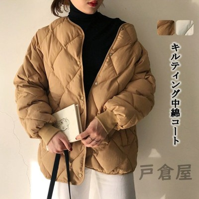 中綿コート キルティングジャケット ジャケット キルティングコート パーカー 中綿 軽量 レディース ゆったり 防寒 40代 アウター 無地 ゆったり カジュアル風