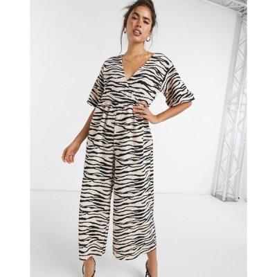 エイソス レディース ワンピース トップス ASOS DESIGN jersey wrap smock textured jumpsuit in animal print