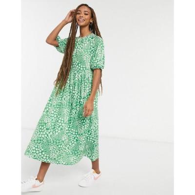 エイソス ミディドレス レディース ASOS DESIGN gathered neck midi smock dress in bright green base floral print エイソス ASOS グリーン 緑