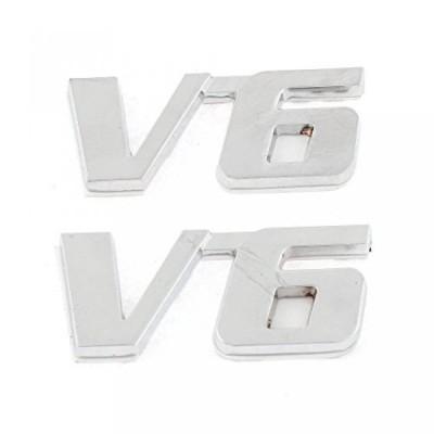 全国配送料無料!ポーランド語クローム V6 フェンダー ステッカー金属エンブレム デカール トリム バッジ 2 個入り 海外正規流通品 並行輸入品