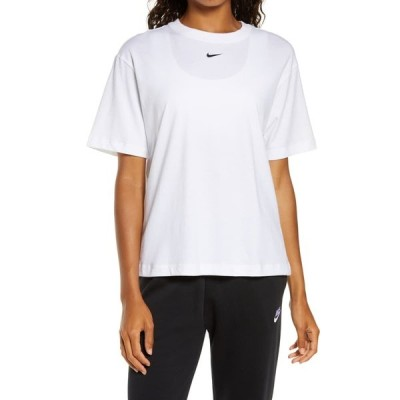 ナイキ Tシャツ トップス レディース Essential Embroidered Swoosh Organic Cotton T-Shirt White/ Black