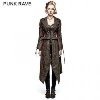 コート ジャケット ベスト Coffee PUNK RAVE Women Gothic removable long jacket Punk Rock Cosplay Steampunk Coat