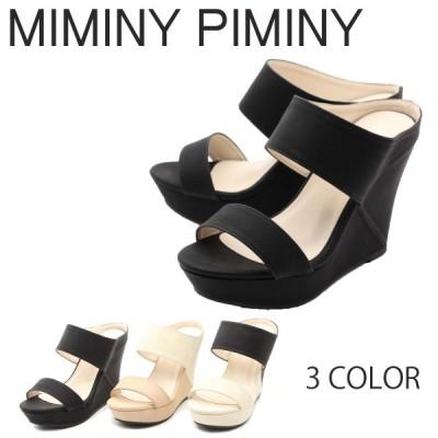 MIMINY PIMINY (ミミニーピミニー) ヤングカジュアル サンダル 厚底 ダブルベルト ウェッジ シンプル キャバ 美脚 08-7958