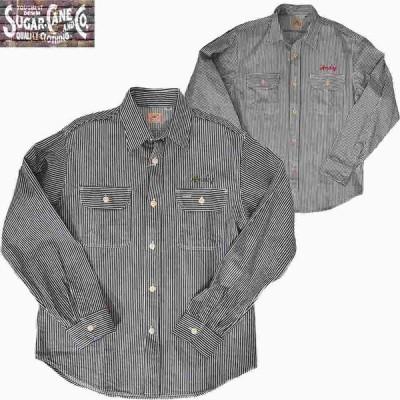 SUGAR CANE/シュガーケーン ヒッコリー L/S  ワークシャツ 刺繍 2カラー  Mサイズ  送料無料