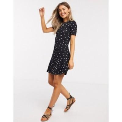 エイソス レディース ワンピース トップス ASOS DESIGN mini tea dress in black based spot Mono spot