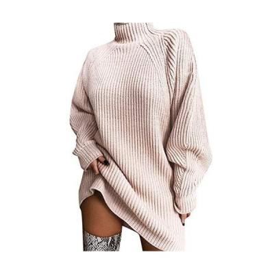 Women Solid Long Sleeve Turtleneck Fall Winter Loose Pullover Sweater Mini