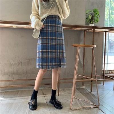 スカート ひざ丈 チェック チェック柄 トレンド 秋カラー 深みカラー ブラウン ラテカラー 茶色 大人っぽい スリット レトロ