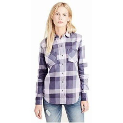 Religion  ファッション 衣類 True Religion Womens Plaid Utility Button Long Sleeve Shirt in Wisteria