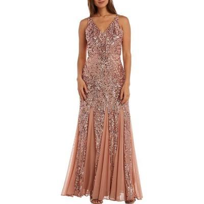 アールアンドエムリチャーズ レディース ワンピース トップス V-Neck Sleeveless Long Geometric Beaded Godet Gown Rose/Gold