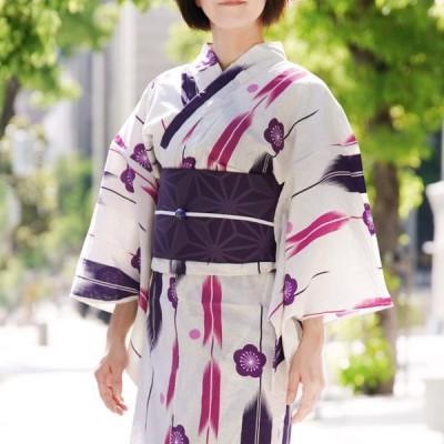 浴衣 2点セット 半幅帯 梅に矢絣 ピンク 紫 おふ白 グレー 古典柄 レトロ 夏着物 50代 レディース 女性用